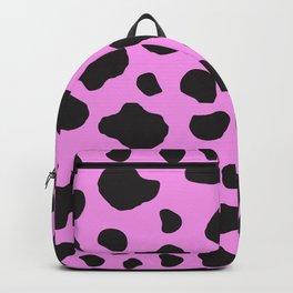 Animal Print (Cow Print), Cow Spots - Pink Black Backpack