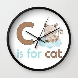 c is for cat, children alphabet for kids room and nursery Wall Clock