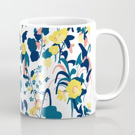 Buttercup yellow, salmon pink, and navy blue flowers on white background pattern Coffee Mug