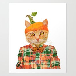 Orange Pumpkin Cat // Fall Decor Art Print