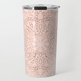Mandala Rose Gold Pink Shimmer on Blush Pink Travel Mug