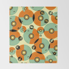 Turntables (Red) Throw Blanket