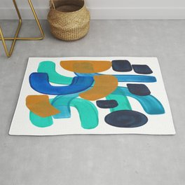 Minimalist Abstract Mid Century Modern Colorful Shapes Marine Green Teal Blue Yellow Pattern Rug