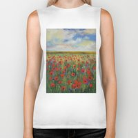 poppies Biker Tanks featuring Poppies by Michael Creese