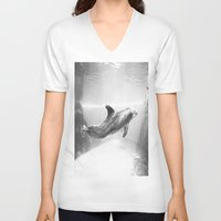 swimming V-neck T-shirts featuring Swimming by Kim Ramage