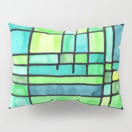 Green Frank Lloyd Wrightish Stained Glass Pillow Sham