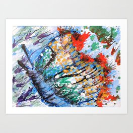 BUTTERFLY - Original abstract painting by HSIN LIN / HSIN LIN ART Art Print