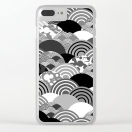 Nature background with japanese sakura flower, Cherry, wave circle Black gray white colors Clear iPhone Case