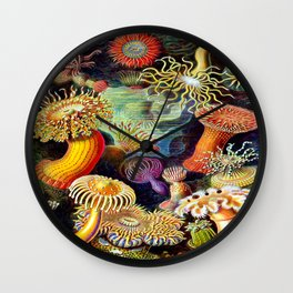 Under the Sea : Sea Anemones (Actiniae) by Ernst Haeckel Wall Clock