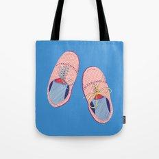Polka dot shoes on blue Tote Bag