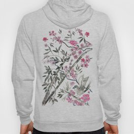 Cherry blossoms,bamboo and Bird Hoody