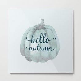 hello autumn blue pumpkin Metal Print