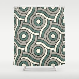 Circle Swirl Pattern Ever Classic Gray 32-24 Thistle Green 22-18 and Dover White 33-6 Shower Curtain