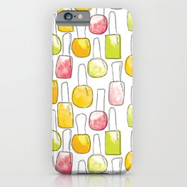 Nail Polish | Yellow Green Peach Pattern iPhone Case