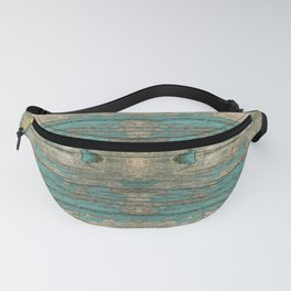 Weathered Rustic Wood - Weathered Wooden Plank - Beautiful knotty wood weathered turquoise paint Fanny Pack