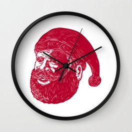 Santa Claus Head Woodcut Wall Clock