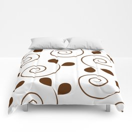 Brown Floral Swirl Pattern Comforters