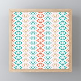Mid Century Modern Geometric Shapes in Muted Colors Orange Coral, Pink, Blue, Teal, and Gold Framed Mini Art Print
