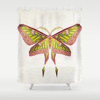 moth Shower Curtains featuring moth by Manoou