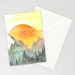 Mountain Glowing Sunset Stationery Cards