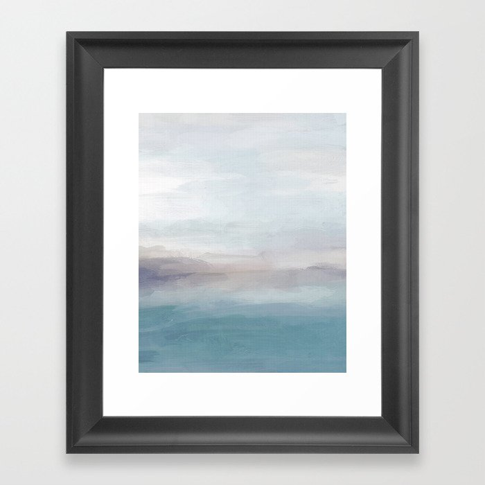 Light Gray, Mauve, Turquoise Aqua Blue Print Modern Wall Art, Abstract Painting Gerahmter Kunstdruck