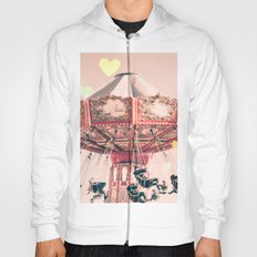 wing Carousel and heart bokeh on pale pink Hoody
