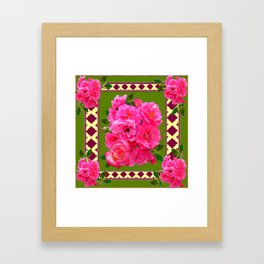 VIBRANT PINK ROSES ON MOSS GREEN PATTERN Framed Art Print
