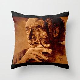 Charles Bukowski - quote - sepia Throw Pillow
