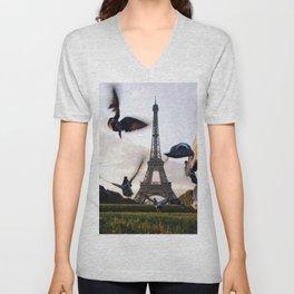 Paris Eiffel tower and flight of birds Unisex V-Neck