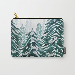 snowy pine forest in green Carry-All Pouch