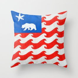 CA 4th of July Throw Pillow