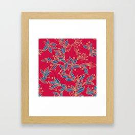 Winter Floral Pattern Framed Art Print