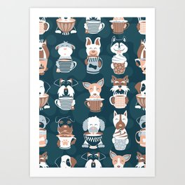 Doggie Coffee and Tea Time II Art Print