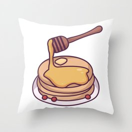 Honey Covered Pancakes Throw Pillow