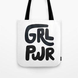 Grl Pwr black and white Tote Bag