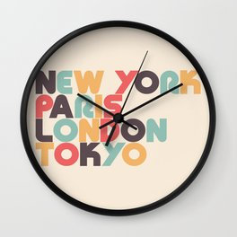 New York Paris London Tokyo Typography - Retro Rainbow Wall Clock