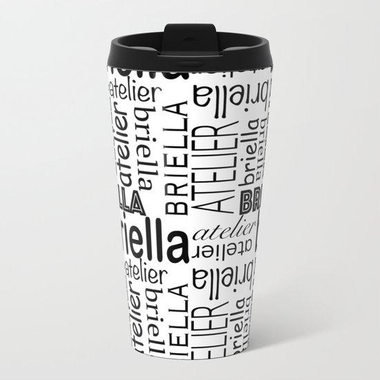 Briella (Black White) Metal Travel Mug