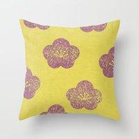 sakura Throw Pillows featuring Sakura by sinonelineman