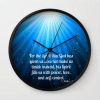 scripture Wall Clocks featuring Scripture II Timothy 1:7  by bjscarrigan