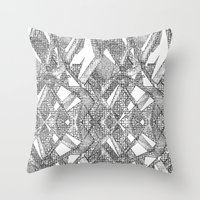 blueprint Throw Pillows featuring Blueprint - monochrome by Etch by Design