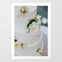 White Wedding Cake and Flowers Art Print