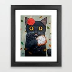 LADY CAT AND BEIGNET Framed Art Print