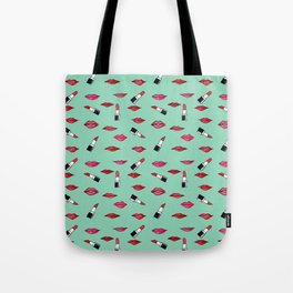 Lips and lispticks pattern in tropical background Tote Bag