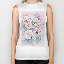 White Wild Roses Watercolor painting White Pink Rose Flower Bouquet Wedding decor Biker Tank