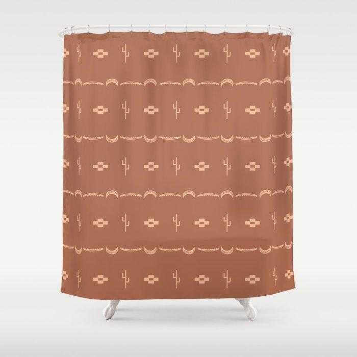 Adobe Cactus Pattern Shower Curtain