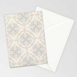 Modern Floral Damask Pattern – Neutral Brown and Gray Earth Tones Stationery Cards