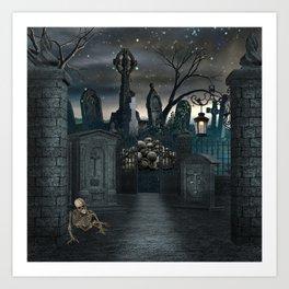 Graveyard #1 * Halloween Churchyard Scary Spooky Skeleton Tombstone Creepy Art Print