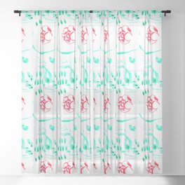 Red & Green Sheer Curtain