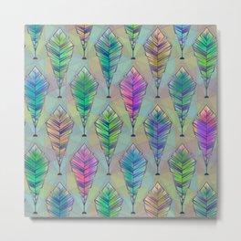 361 7 Watercolor Pastel Feather Illustration Pattern Metal Print