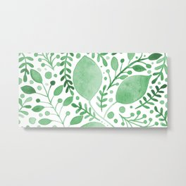 Branches and leaves - green Metal Print